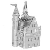 14K White Gold Castle Charm by Rembrandt Charms