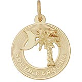 10K Gold South South Carolina Palm and Moon Charm by Rembrandt Charms