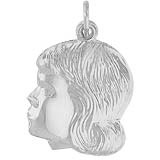 14K White Gold Young Girl's Head Charm by Rembrandt Charms