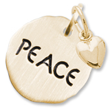 14K Gold Peace Charm Tag with Heart by Rembrandt Charms