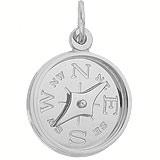 14k White Gold Compass with Needle Charm by Rembrandt Charms