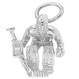 14K White Gold Hockey Goalie Charm by Rembrandt Charms