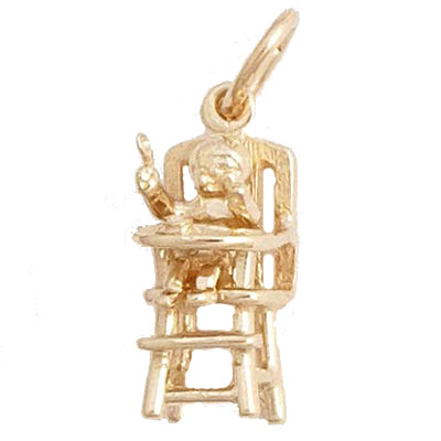 14k Gold Highchair Charm by Rembrandt Charms