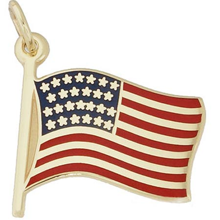 14k Gold USA Flag Charm by Rembrandt Charms