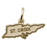 14K Gold St. Croix Island Map Charm by Rembrandt Charms