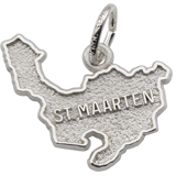 14K White Gold St. Maarten Island Map Charm by Rembrandt Charms