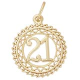 10K Gold Number 21 Charm by Rembrandt Charms
