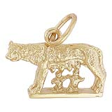 Gold Plate Romulus and Remus Charm by Rembrandt Charms