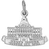 14K White Gold Boston State House Charm by Rembrandt Charms