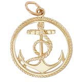 Gold Plate Ships Anchor in a Rope Charm by Rembrandt Charms