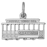 14K White Gold San Francisco Cable Car Charm by Rembrandt Charms