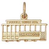 Gold Plate San Francisco Cable Car Charm by Rembrandt Charms