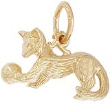10K Gold Playful Cat Charm by Rembrandt Charms