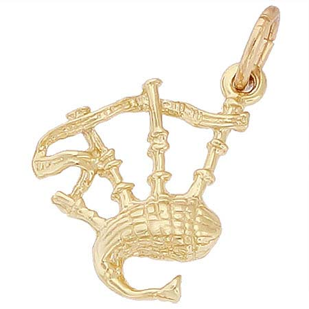 Gold Plated Bagpipes Charm by Rembrandt Charms