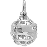 14k White Gold World Globe Charm by Rembrandt Charms