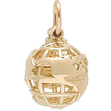 Gold Plated World Globe Charm by Rembrandt Charms