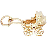 Gold Plate Canopy Baby Carriage Charm by Rembrandt Charms