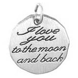 14K White Gold I love you to the moon Charm by Rembrandt Charms