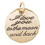 10K Gold I love you to the moon Charm by Rembrandt Charms