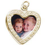 10K Gold Heart Scroll PhotoArt® Charm by Rembrandt Charms