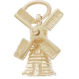 Gold Plate Windmill Charm by Rembrandt Charms