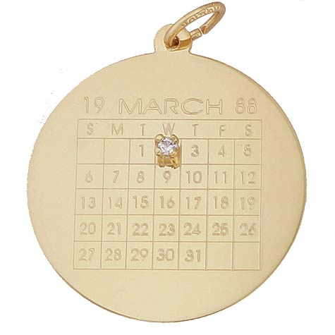 14K Gold Diamond Calendar Charm by Rembrandt Charms