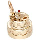 14k Gold Two-Tier Cake With Candle Charm by Rembrandt Charms