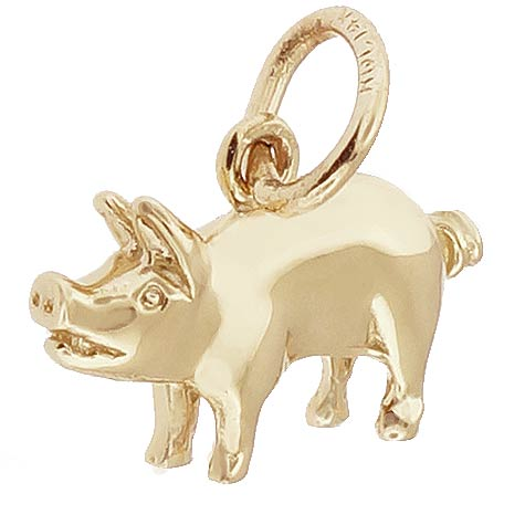 14K Gold Small Pig Charm by Rembrandt Charms