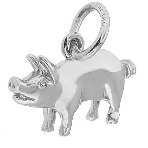 14K White Gold Small Pig Charm by Rembrandt Charms