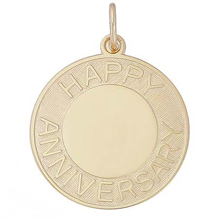 14k Gold Happy Anniversary Disc Charm by Rembrandt Charms