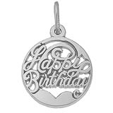 14k White Gold Happy Birthday Charm Cutout by Rembrandt Charms