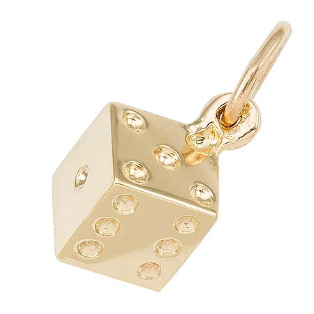 14K Gold Dice Charm by Rembrandt Charms