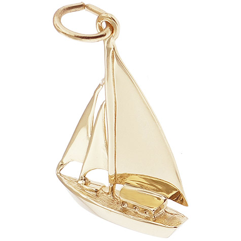Gold Plate Cutter Sailboat Charm by Rembrandt Charms