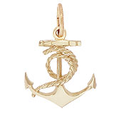Gold Plate Ships Anchor Charm with Rope by Rembrandt Charms