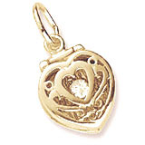 Gold Plated Heart Engagement Ring Box Charm by Rembrandt Charms