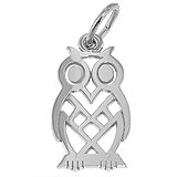 14K White Gold Flat Owl Charm by Rembrandt Charms
