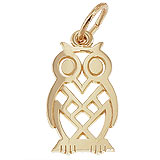 14K Gold Flat Owl Charm by Rembrandt Charms