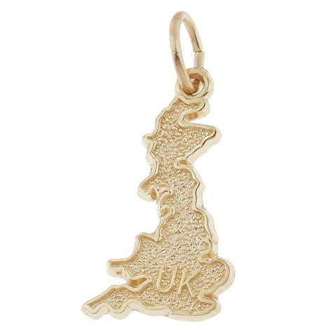14K Gold United Kingdom Map Charm by Rembrandt Charms