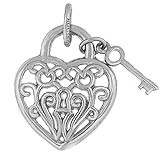 14k White Gold Filigree Heart and Key Charm by Rembrandt Charms