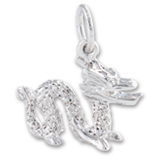 14K White Gold Chinese Serpent Dragon Charm by Rembrandt Charms