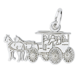 14K White Gold Flat Horse and Carriage Charm by Rembrandt Charms