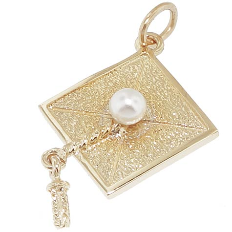 Gold Plated Graduation Cap Charm by Rembrandt Charms