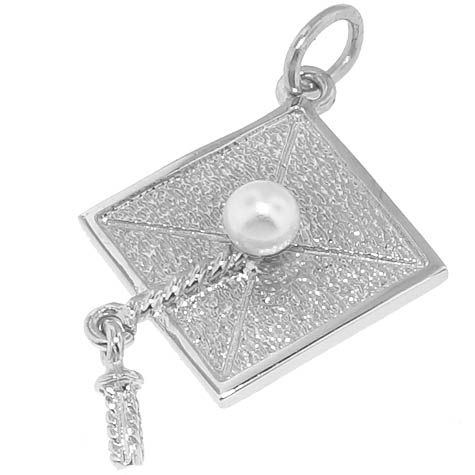 Sterling Silver Graduation Cap Charm by Rembrandt Charms