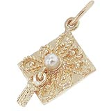 Gold Plate Ornate Graduation Cap Charm by Rembrandt Charms