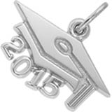 14k White Gold Graduation Cap 2015 by Rembrandt Charms