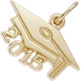 14k Gold Graduation Cap 2015 Charm by Rembrandt Charms