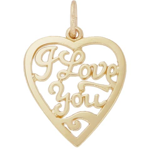 14K Gold I Love You Open Heart Charm by Rembrandt Charms