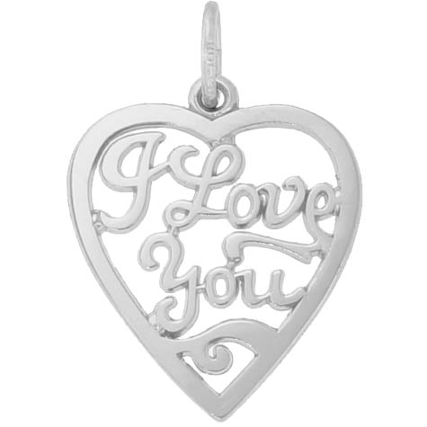 14K White Gold I Love You Open Heart Charm by Rembrandt Charms