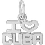 14K White Gold I Love Cuba Charm by Rembrandt Charms