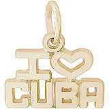 Gold Plate I Love Cuba Charm by Rembrandt Charms